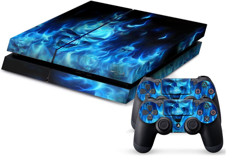 PS4 Skin - Skull Blue Fire