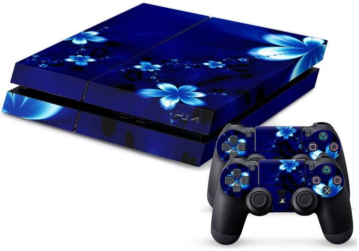 PS4 Skin - Blue Flower