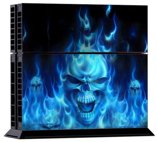 Sony PS4 Skin - Skull Blue Fire