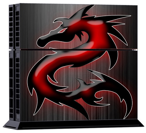 Sony PS4 Skin - Black Red Dragon