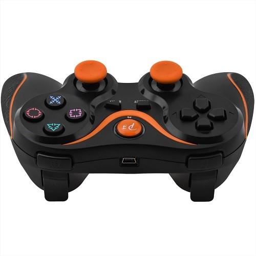 PS3 Doubleshock Bluetooth Wireless Controller Black Orange Top